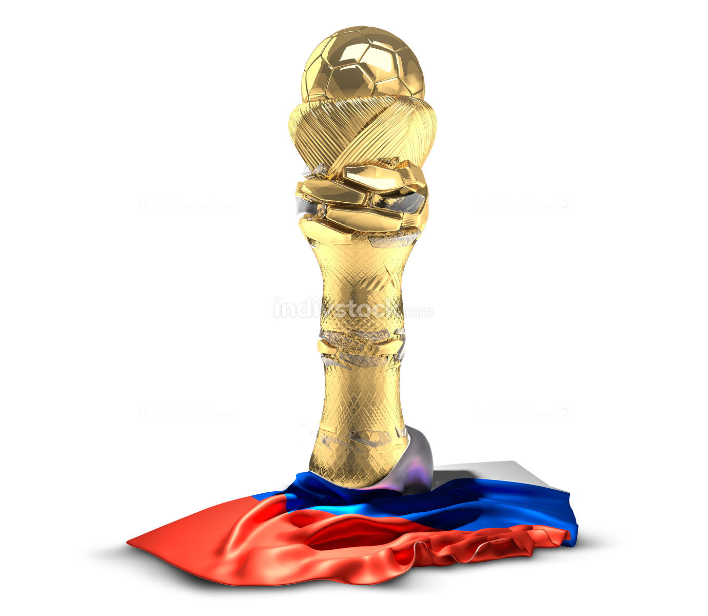 Russia soccer football golden trophy football cup. 3d rendering