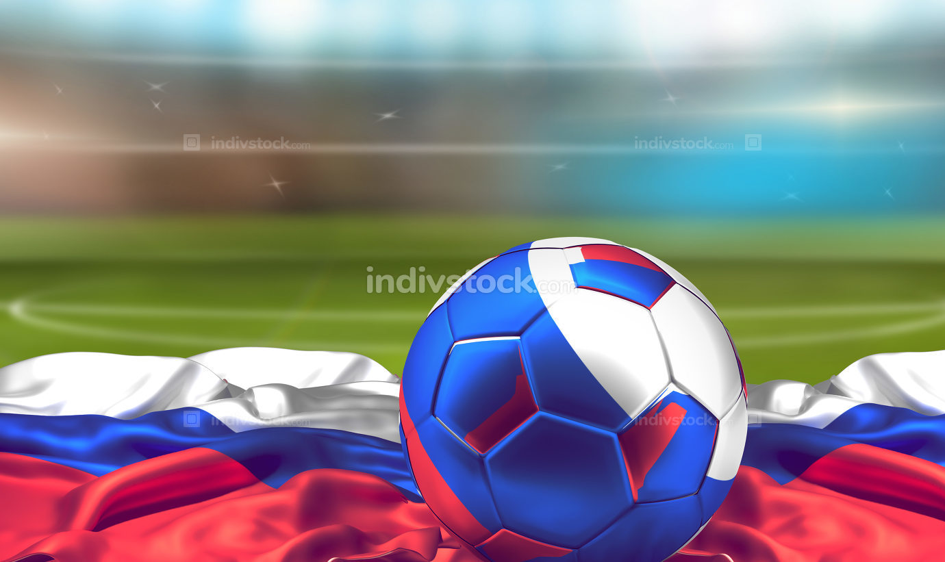 russian ball over flag of Russia at soccer stadium. football 3d