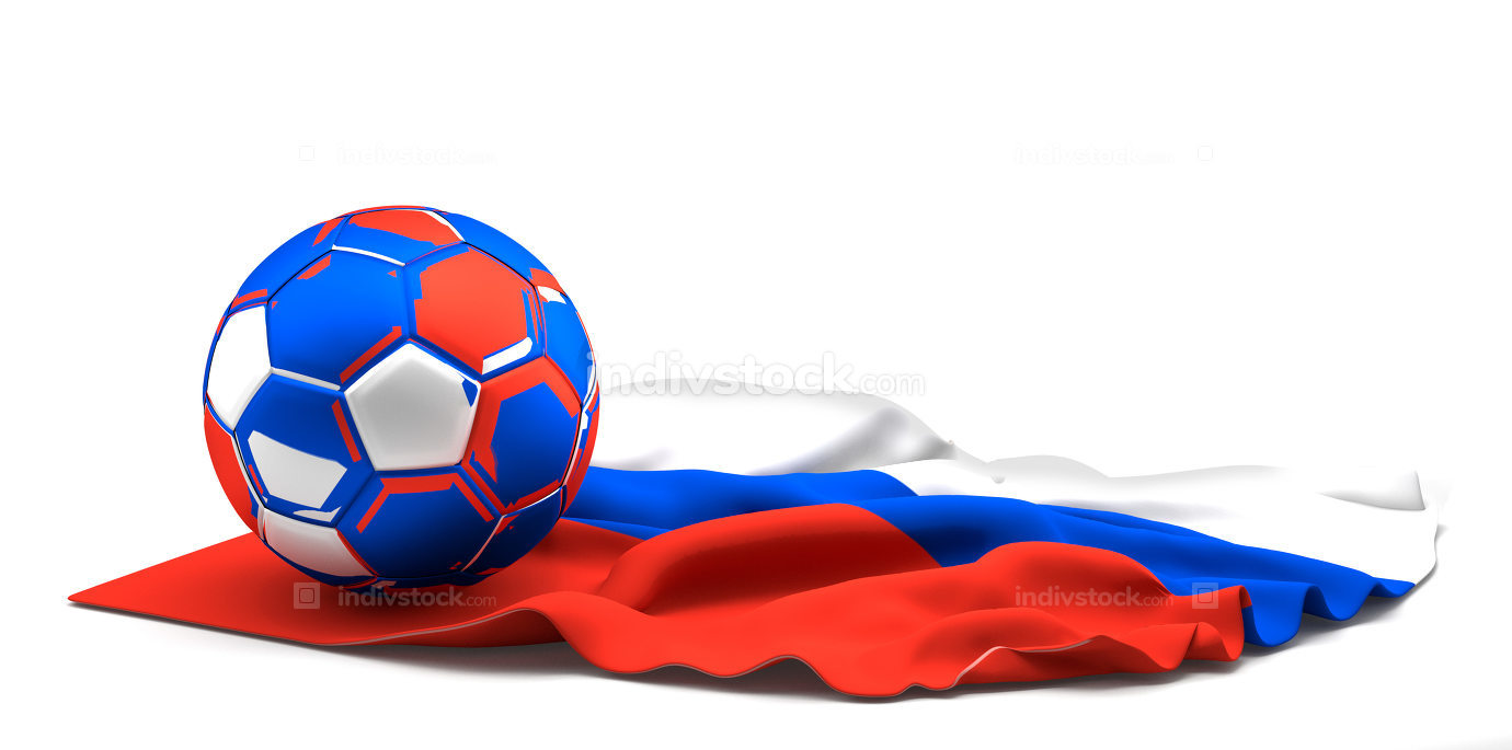russian football ball. soccer football 3d render with russian fl
