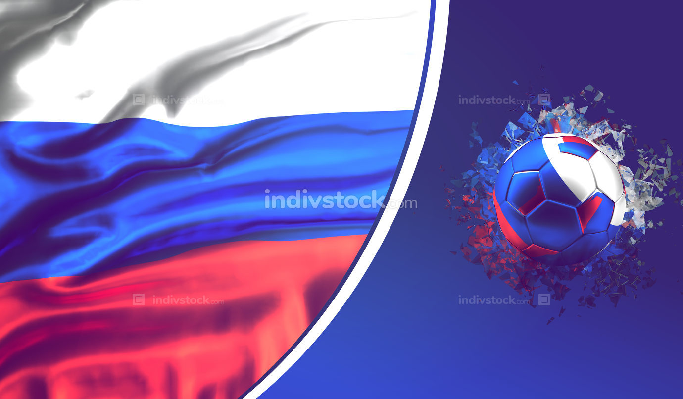 russian soccer football background. 3d rendering with ball and flag of russia