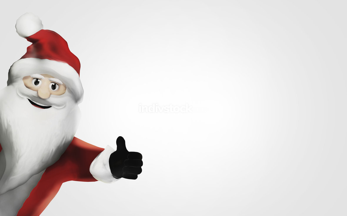 santa claus thumbs up 3d render