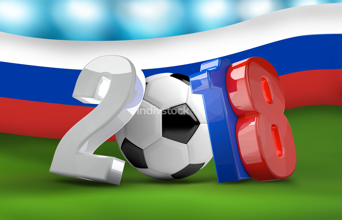 soccer football 2018 russia 3d render isolated