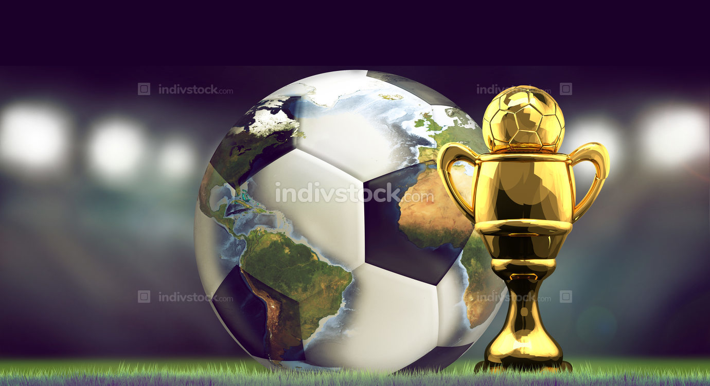 soccer football ball and golden Cup. World stadium concept 3d re