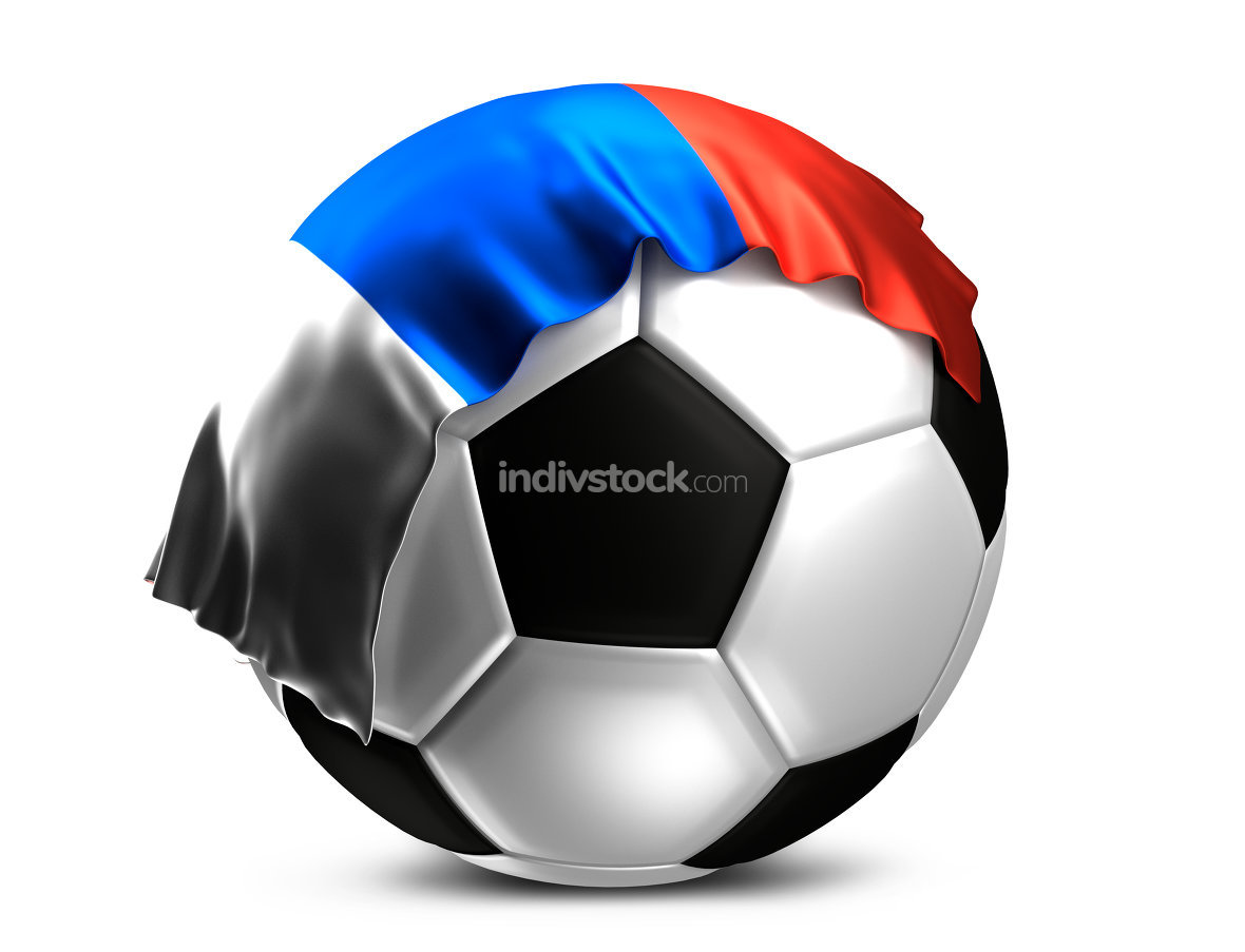 soccer football ball with russian flag. Russia football ball. 3d
