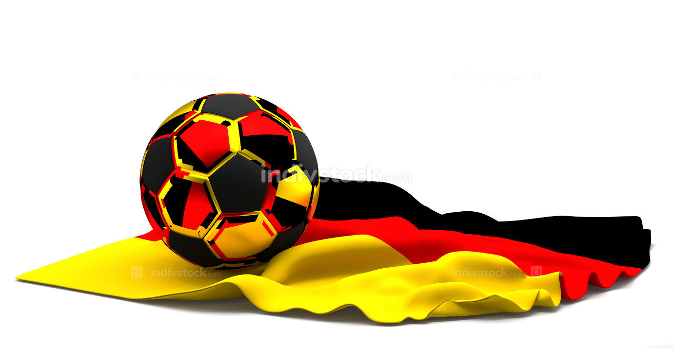 Soccer football of germany and flag. football 3d rendering