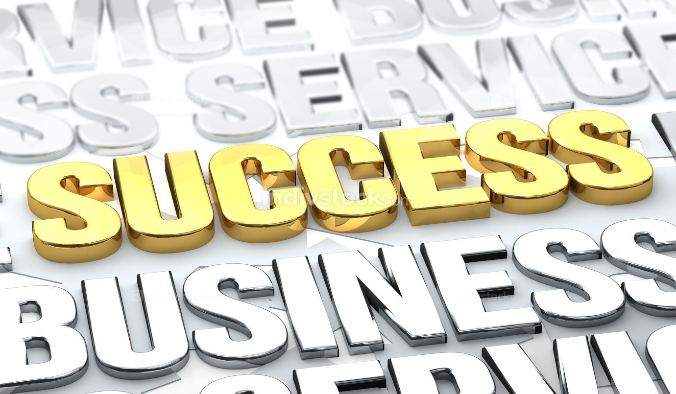Success golden letters 3d rendering