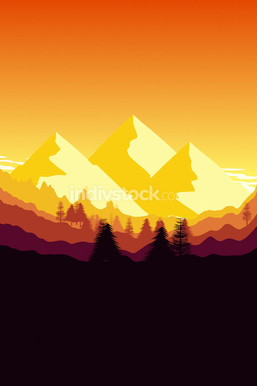 sunset mountain background