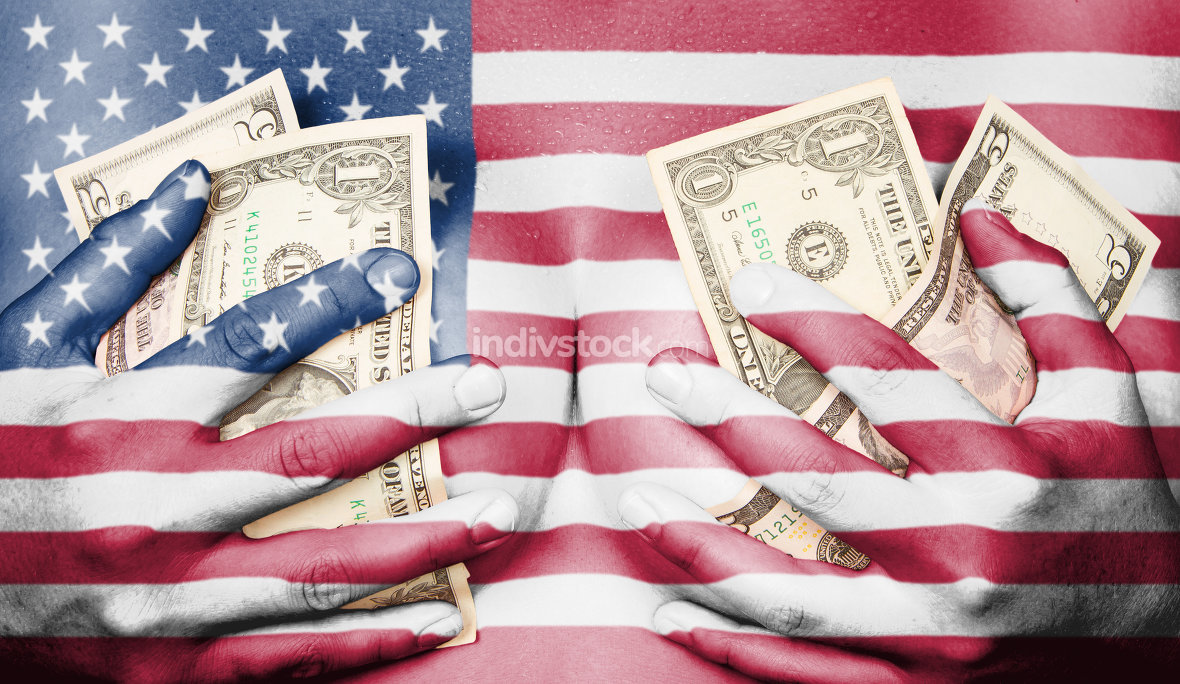 Sweaty girl covered her breast with money, flag of the USA