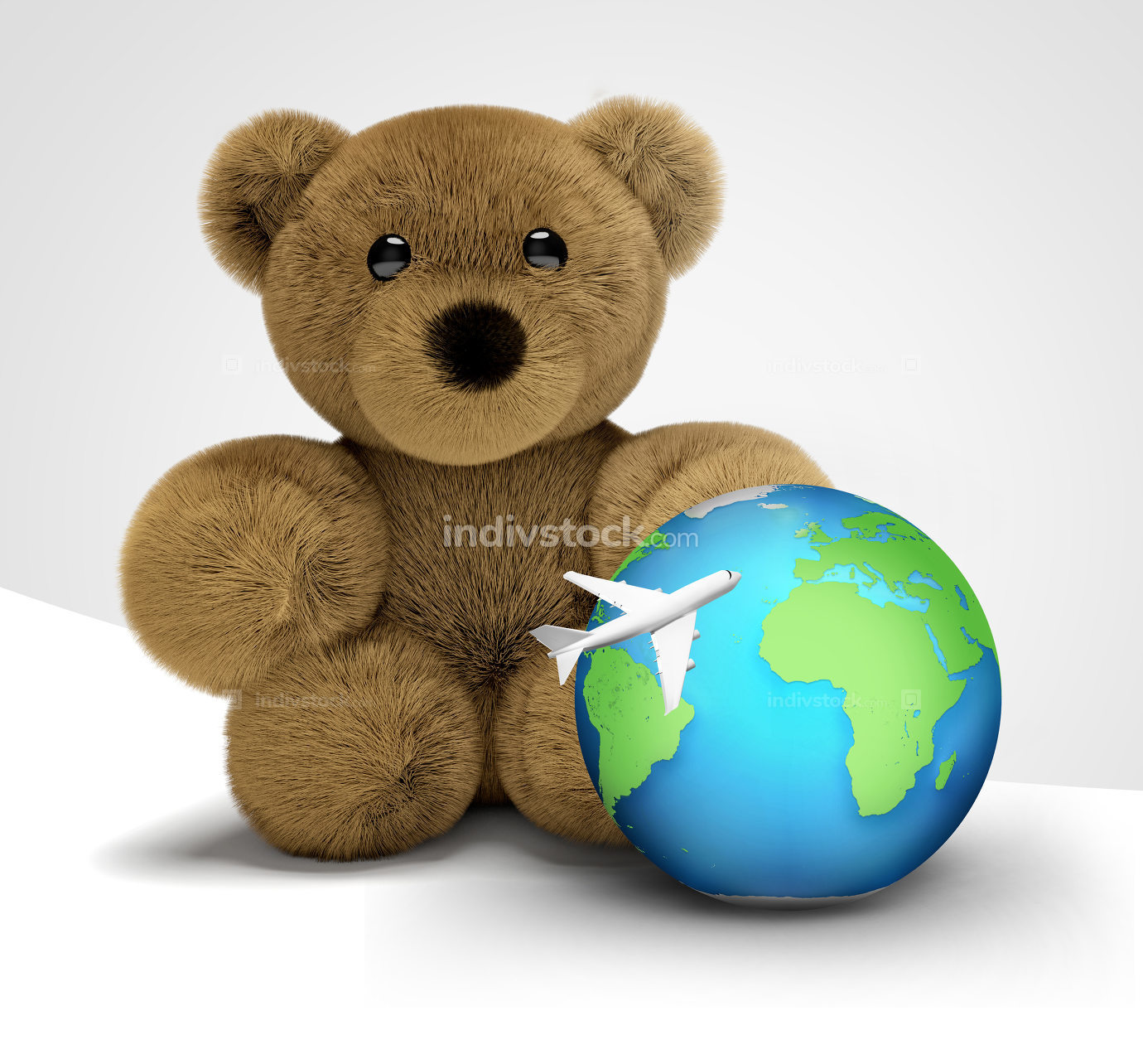teddy bear travel and world globe with plane 3d render flight