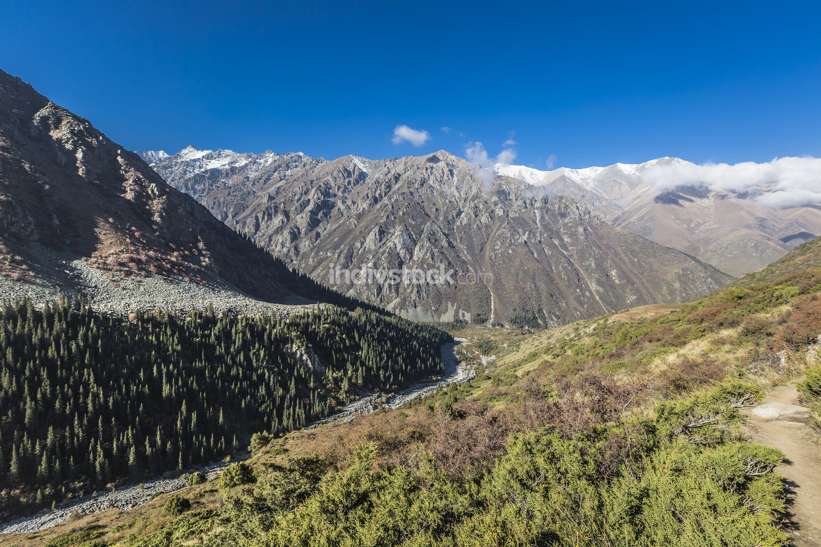 The panorama of mountain landscape of Ala-Archa gorge in the sum