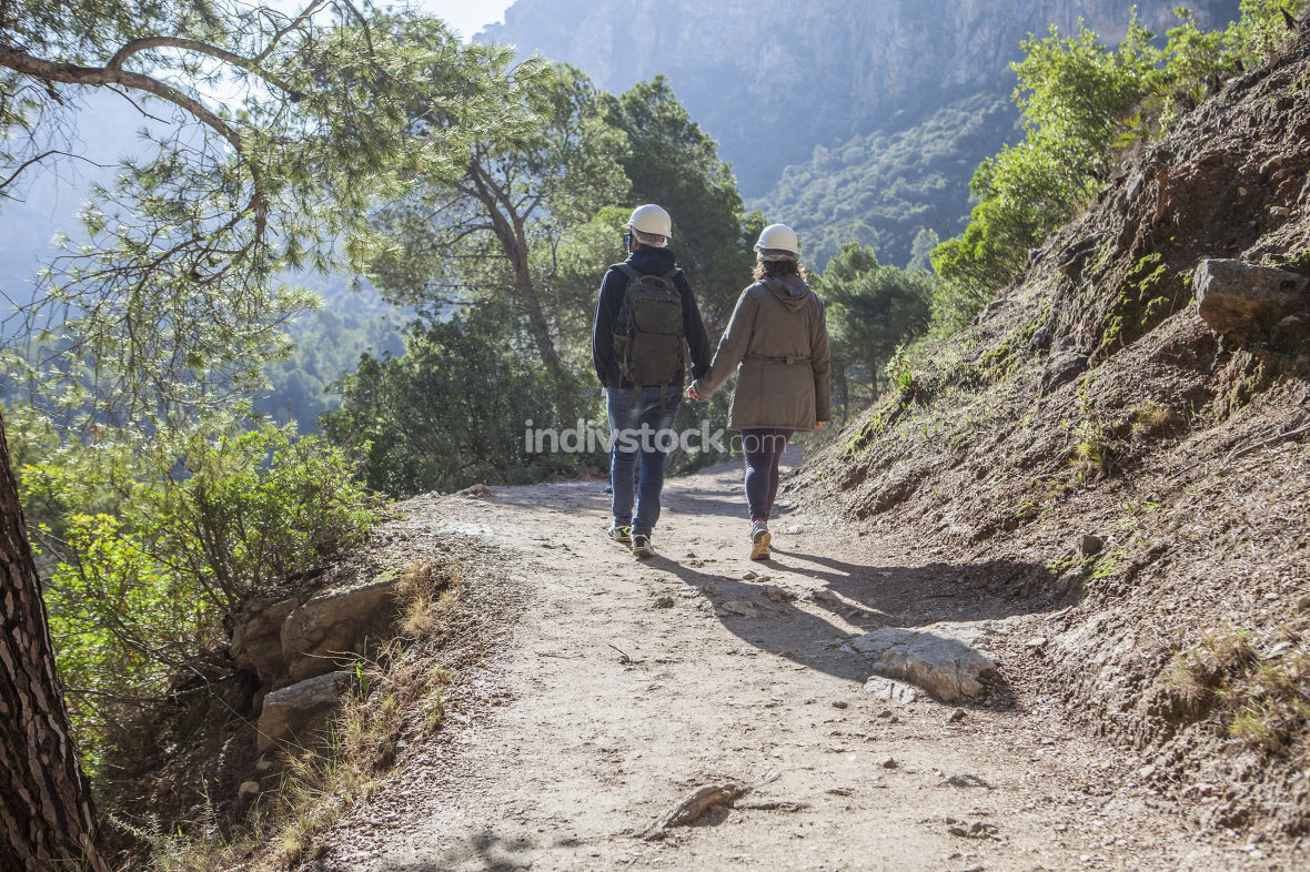 Traveling and trekking in nature couple concept