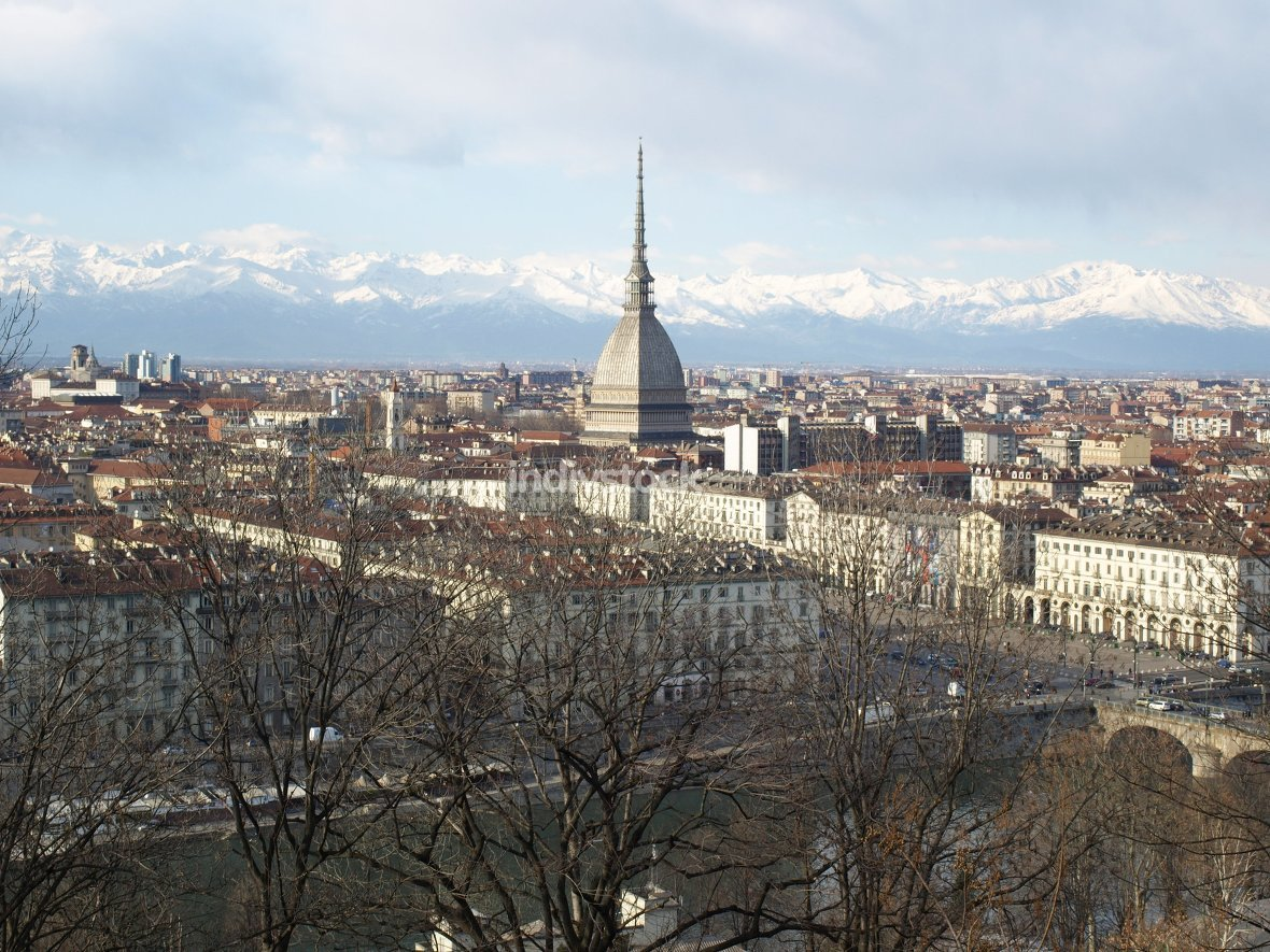 Turin panorama seen from the hill with Mole Antonelliana