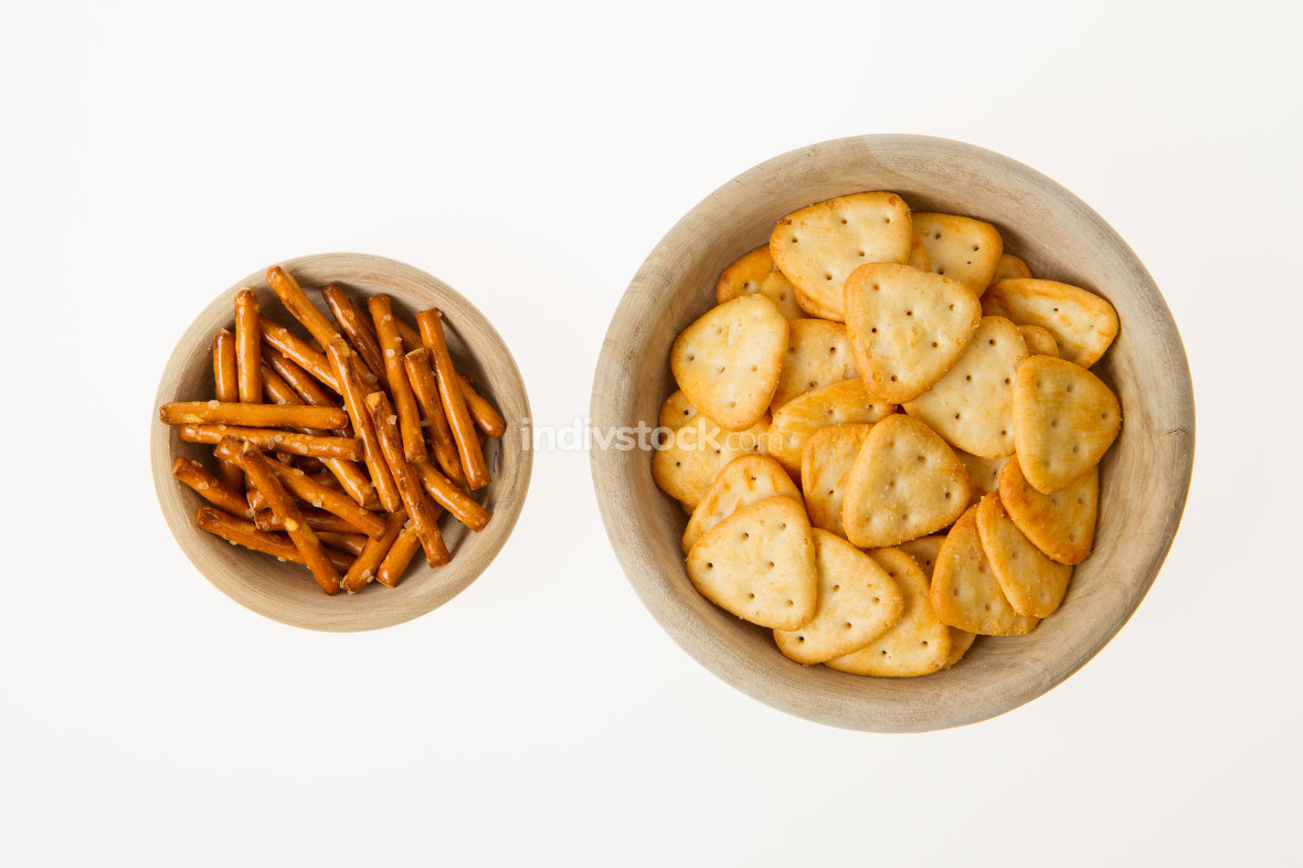 Typical dutch snacks in wooden bowls
