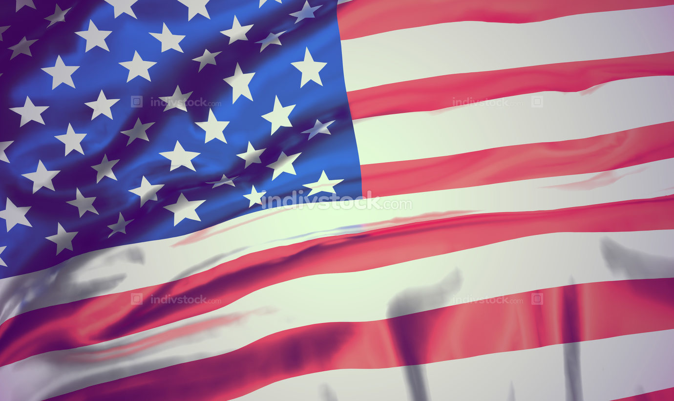 united states of america. flag of the united states. 3d renderin