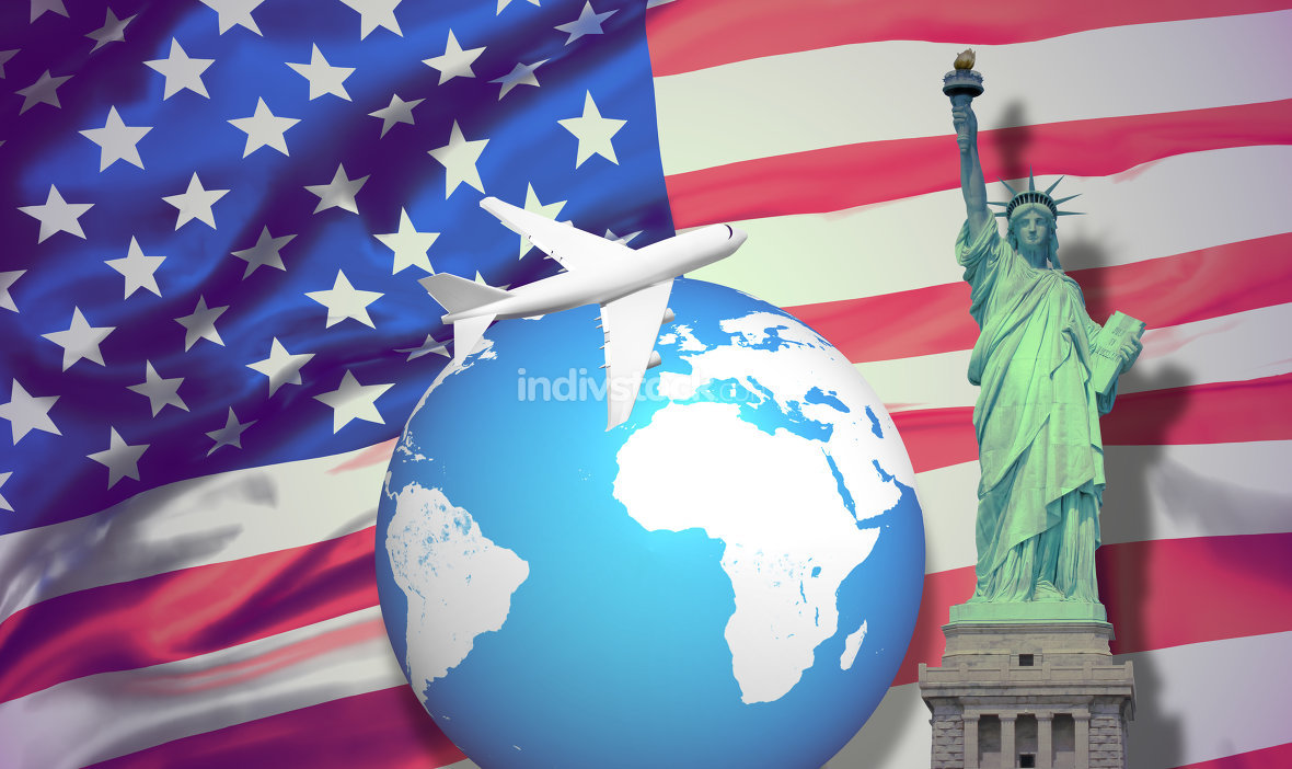 united states of america travel destination 3d rendering.