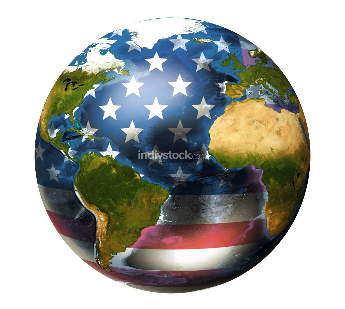 USA flag worldwide global. Elements of this image furnished by NASA.