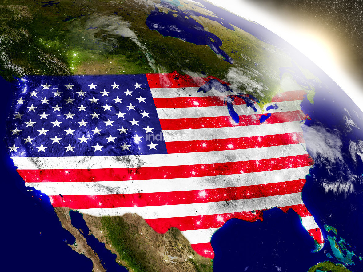 USA with flag in rising sun. Elements of this image furnished by NASA.