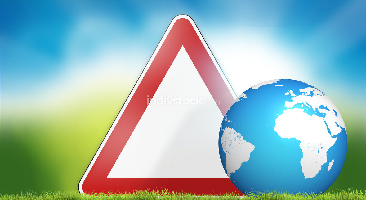 warning sign and planet earth nature 3d render. Elements of this