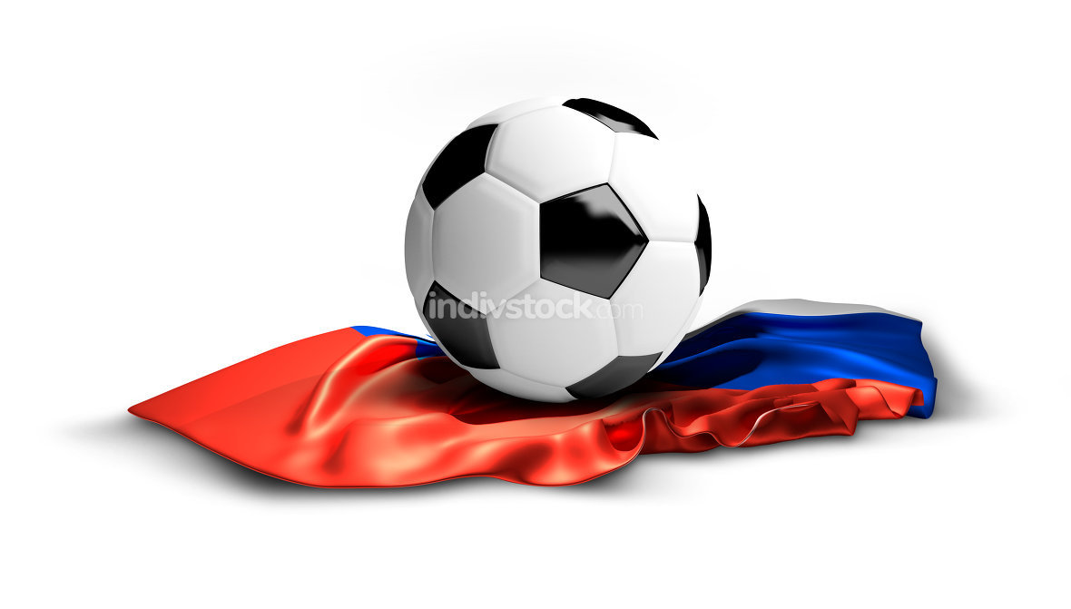 white soccer football ball on russian flag. isolated 3d renderin