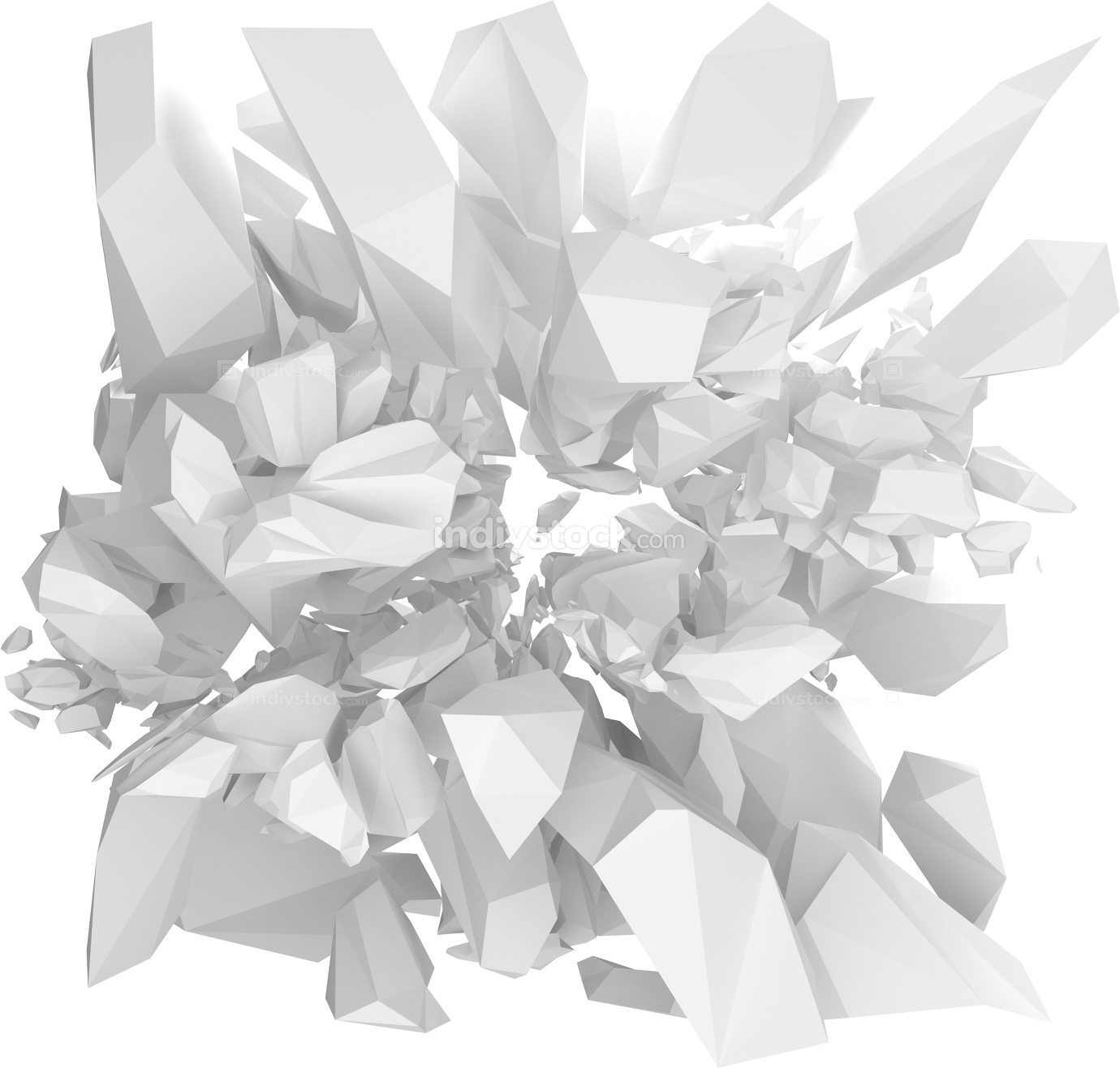 white solid structure bursting 3d render