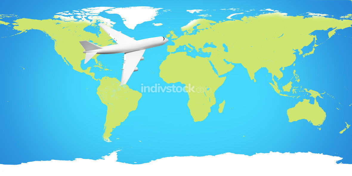 world map and plane 3d render. Elements of this image furnished