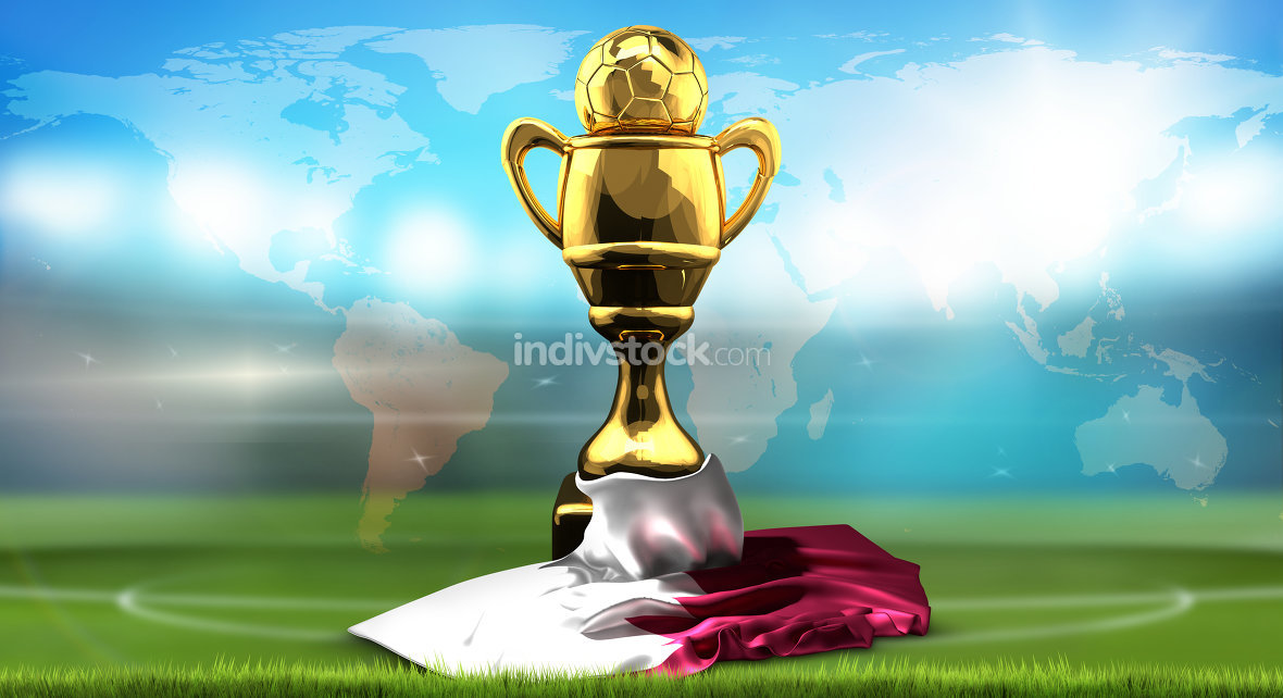 world map. Qatar flag with golden trophy soccer cup. 3d renderin