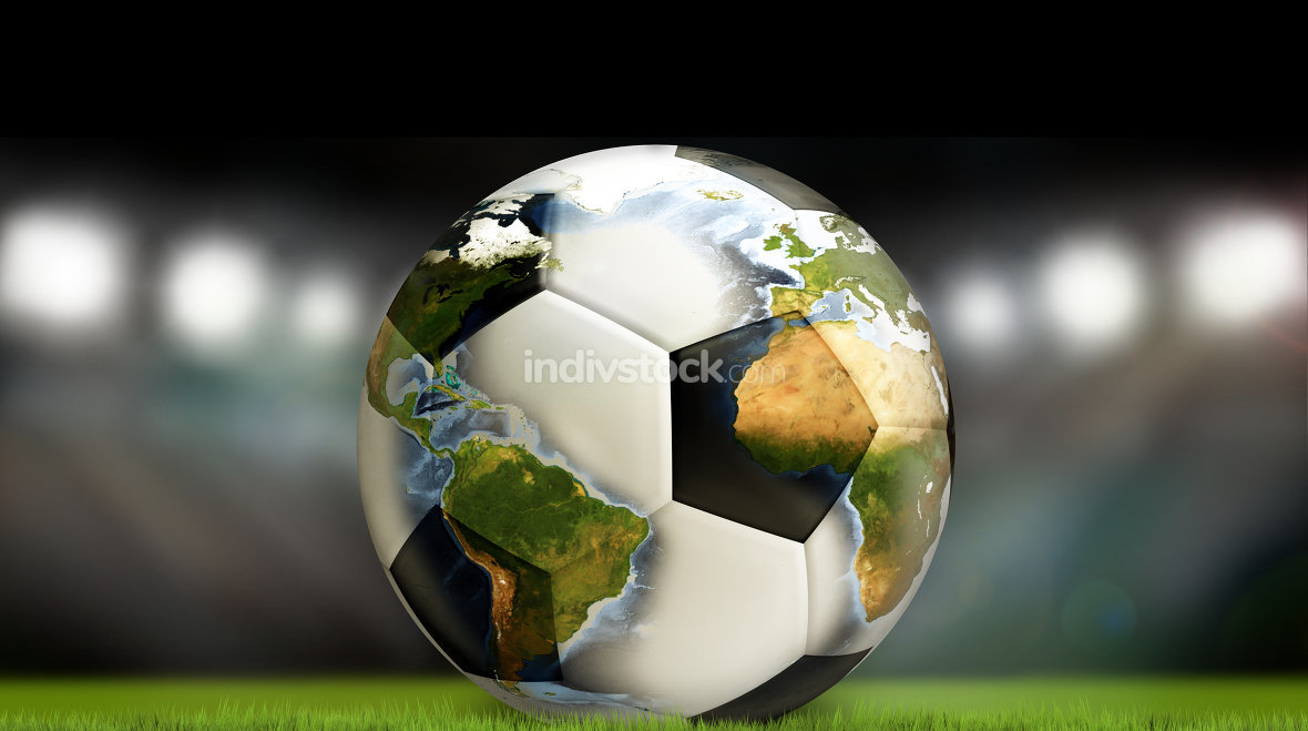 worldwide soccer ball football 3d render