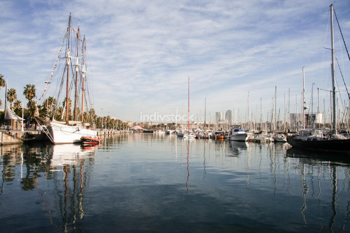 Yachts in harbor Port Vell Barcelona, Spain, winter