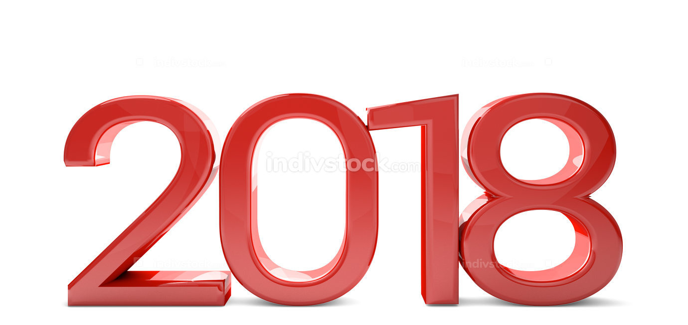 year 2018 thin red modern sylvester design 3d render for new yea