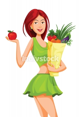 Vector of beautiful woman holding an apple and grocery bag full