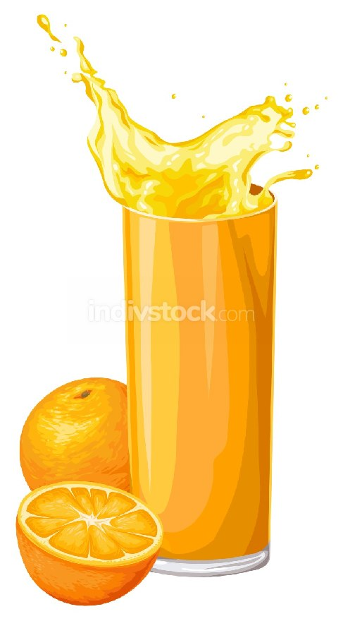Vector of orange fruit with juice in glass.