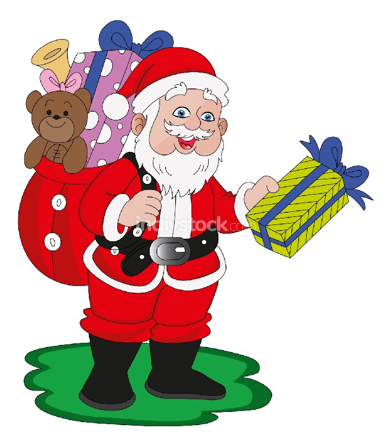 Vector of santaclaus with gifts.