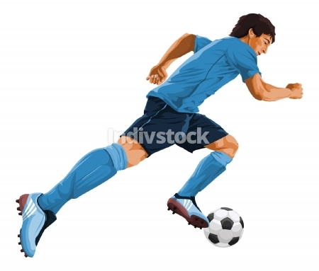 Vector of soccer player in action.