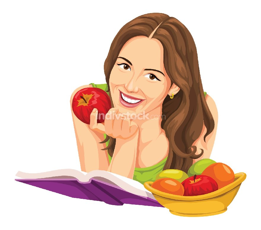 Vector of woman holding apple and reading a book.