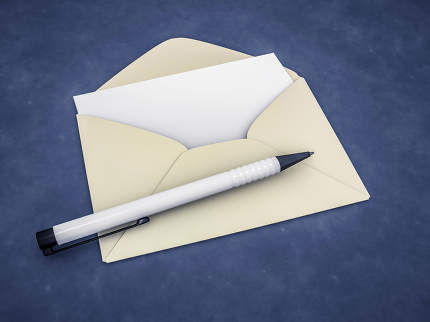 an envelope with a blank letter 3d rendering