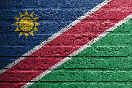 Brick wall with a painting of a flag, Namibia
