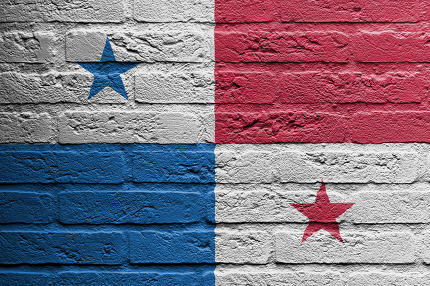 Brick wall with a painting of a flag, Panama