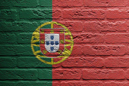 Brick wall with a painting of a flag, Portugal