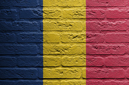 Brick wall with a painting of a flag, Romania