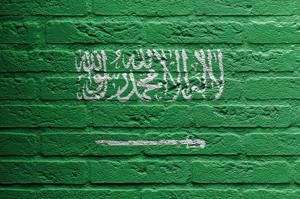 Brick wall with a painting of a flag, Saudi Arabia