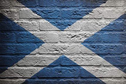 Brick wall with a painting of a flag, Scotland