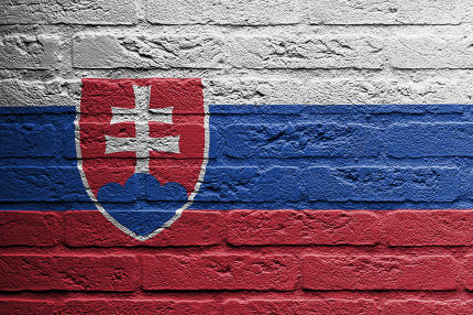 Brick wall with a painting of a flag, Slovakia