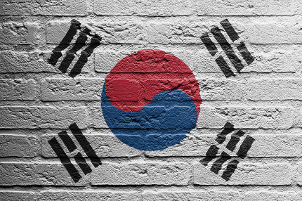 Brick wall with a painting of a flag, South Korea