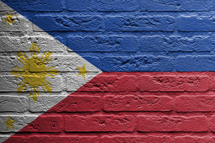 Brick wall with a painting of a flag, The Philippines