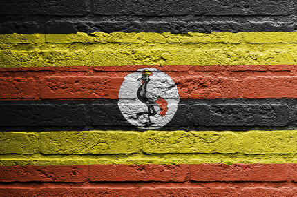 Brick wall with a painting of a flag, Uganda