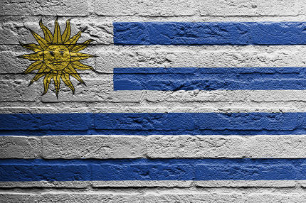 Brick wall with a painting of a flag, Uruguay