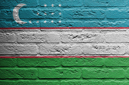 Brick wall with a painting of a flag, Uzbekistan