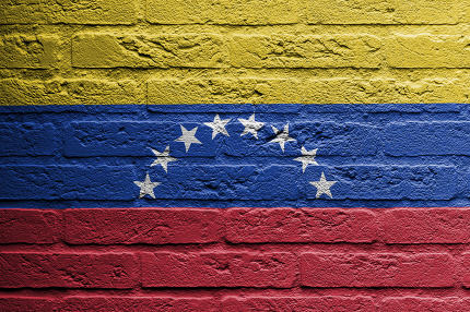 Brick wall with a painting of a flag, Venezuela