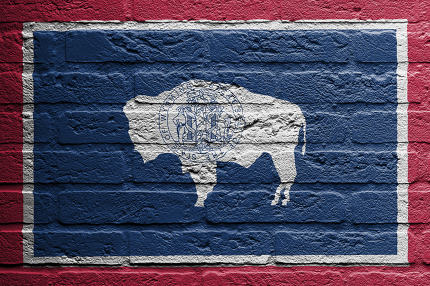 Brick wall with a painting of a flag, Wyoming