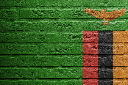 Brick wall with a painting of a flag, Zambia